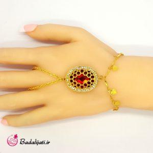 دستبند انگشتری طلایی نگین بزرگ قرمز