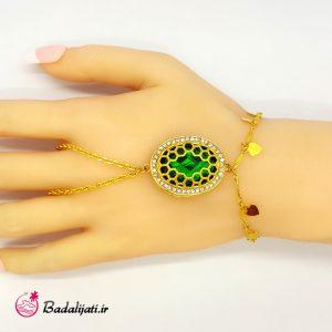 دستبند انگشتری طلایی نگین بزرگ (سبز)