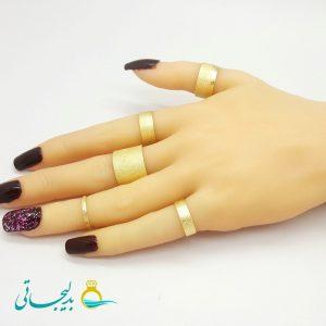 ست انگشتر و بند انگشتی - طلایی RF-01