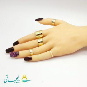 ست انگشتر و بند انگشتی - طلایی RF-04