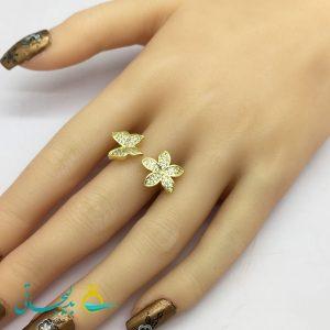 انگشتر زنانه - انگشتر زنانه طلایی طرح گل 192