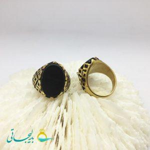 انگشتر مردانه - طلایی - نگین مشکی 2145