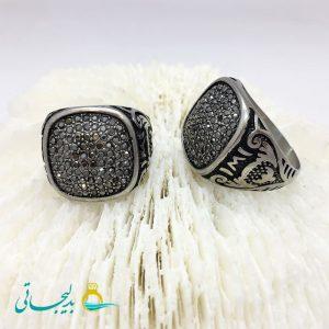انگشتر مردانه - نقره ای - نگین کاری2152