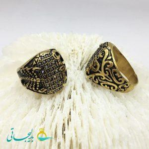 انگشتر مردانه - طلایی- نگین کاری2153