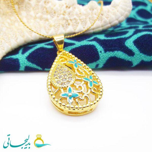 پلاک طلایی - فیروزه ای - کد 128