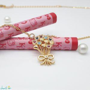 گردنبند-گردن آویز استیل طلایی نگین دار-رنگی