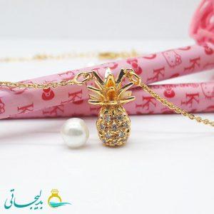 گردنبند-گردن آویز استیل طلایی نگین دار-طرح آناناس