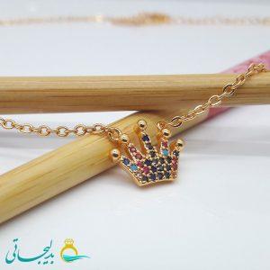 گردنبند-گردن آویز استیل طلایی-طرح تاج