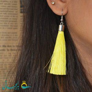 گوشواره نخی-آویزدار رنگی-زرد