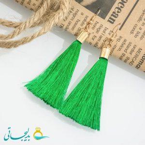 گوشواره نخی آویز سبز