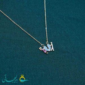 گردنبند- گردن آویز طلایی- طرح زوج- نگین دار رنگی