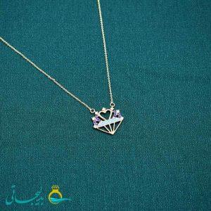 گردنبند- گردن آویز طلایی- طرح الماس طلایی- نگین دار رنگی