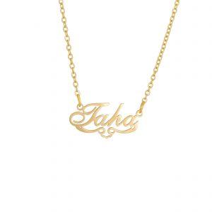 گردنبند اسم-استیل طلایی-انگلیسی-نام طاها