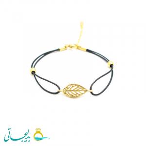 دستبند مهره ای با پلاک طلایی مدل 89