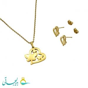نیم ست استیل طلایی-طرح فانتزی قلب و پروانه-مدل 1027