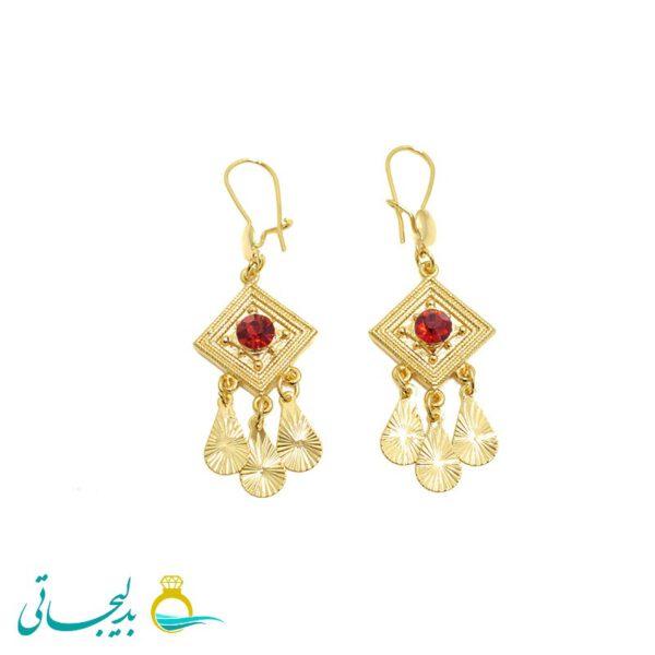 گوشواره آویز زنانه- طلایی نگین دار