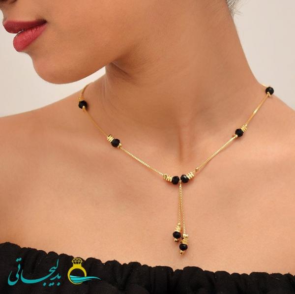 گردنی طلایی نگینی- با مهره های رنگی